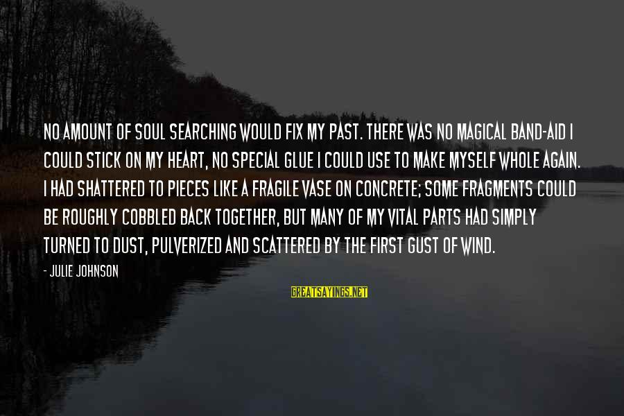 Damaged Soul Sayings By Julie Johnson: No amount of soul searching would fix my past. There was no magical Band-Aid I
