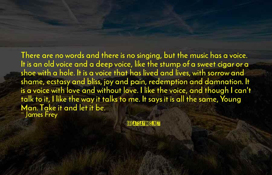 Damnation Sayings By James Frey: There are no words and there is no singing, but the music has a voice.