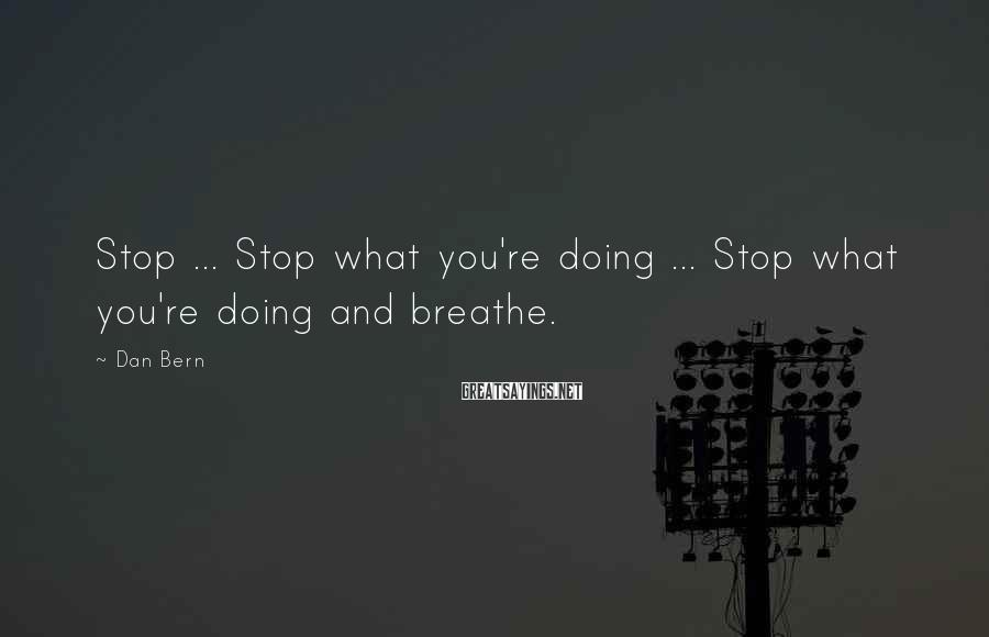 Dan Bern Sayings: Stop ... Stop what you're doing ... Stop what you're doing and breathe.