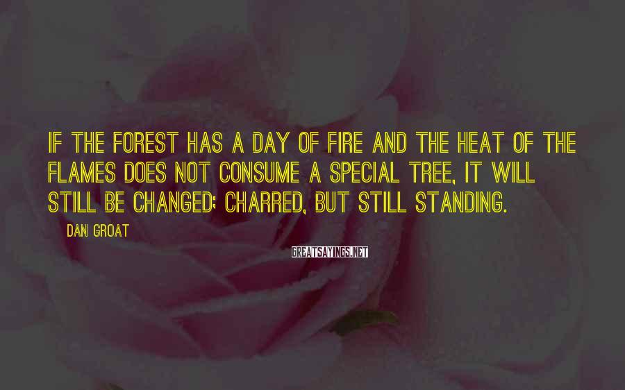 Dan Groat Sayings: If the forest has a day of fire and the heat of the flames does
