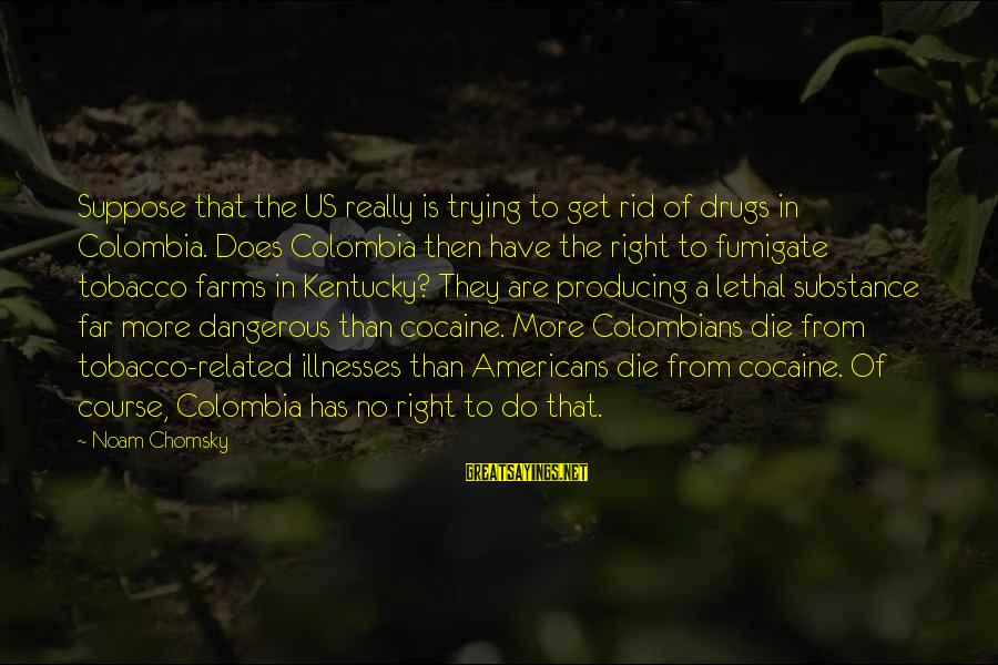 Dangerous Drugs Sayings By Noam Chomsky: Suppose that the US really is trying to get rid of drugs in Colombia. Does