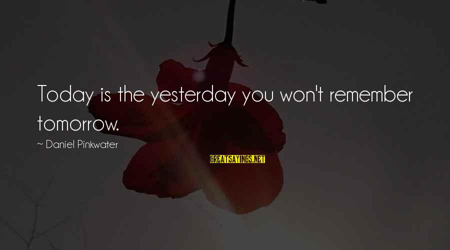 Daniel Pinkwater Sayings By Daniel Pinkwater: Today is the yesterday you won't remember tomorrow.