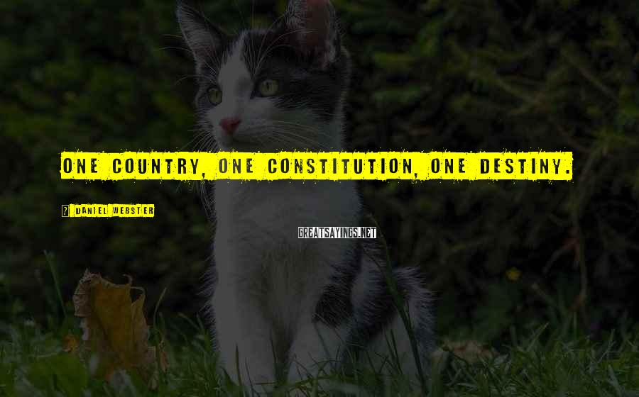 Daniel Webster Sayings: One country, one constitution, one destiny.
