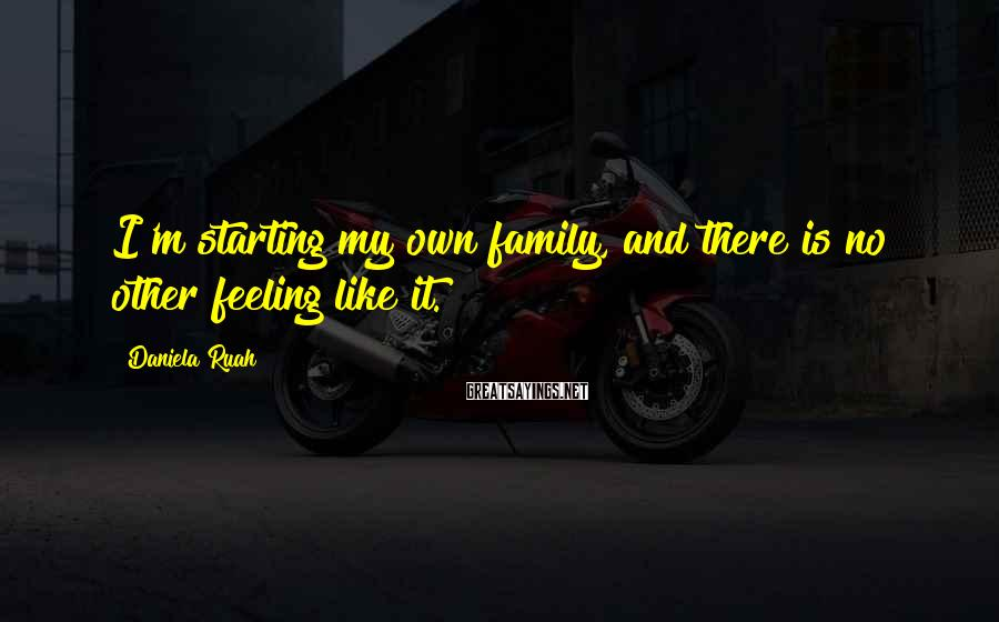 Daniela Ruah Sayings: I'm starting my own family, and there is no other feeling like it.