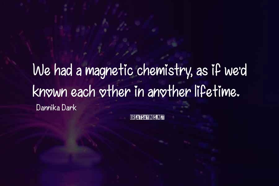 Dannika Dark Sayings: We had a magnetic chemistry, as if we'd known each other in another lifetime.