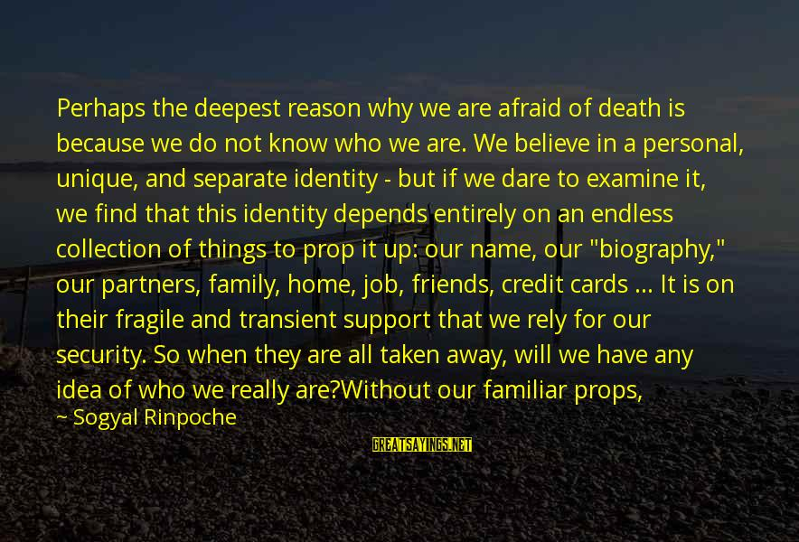 Dare To Believe Sayings By Sogyal Rinpoche: Perhaps the deepest reason why we are afraid of death is because we do not