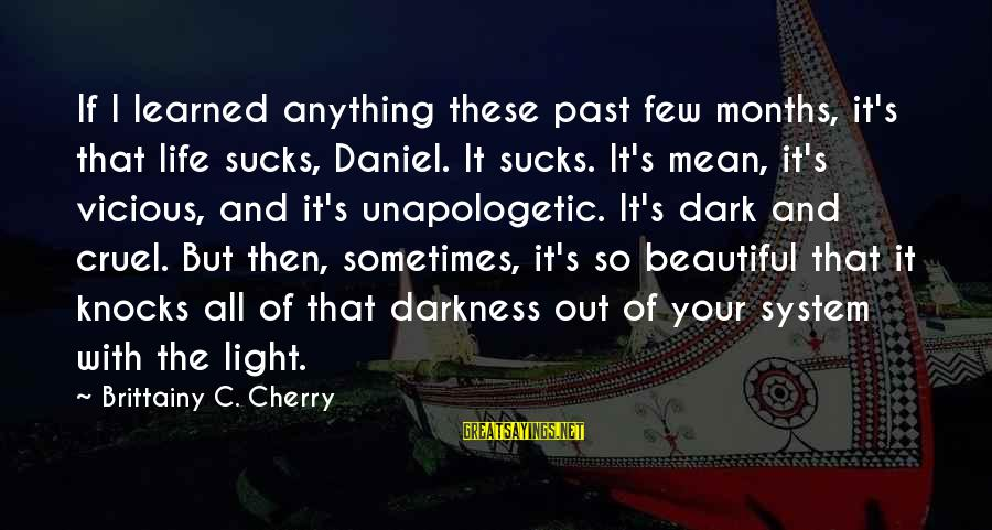 Dark But Beautiful Sayings By Brittainy C. Cherry: If I learned anything these past few months, it's that life sucks, Daniel. It sucks.