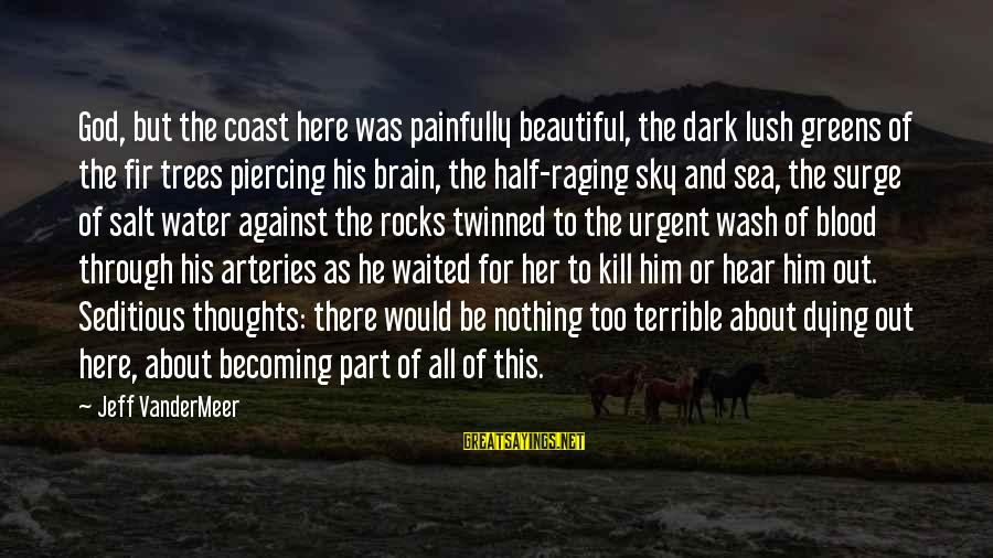 Dark But Beautiful Sayings By Jeff VanderMeer: God, but the coast here was painfully beautiful, the dark lush greens of the fir