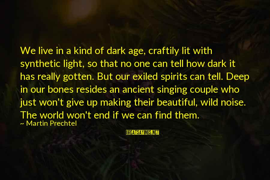 Dark But Beautiful Sayings By Martin Prechtel: We live in a kind of dark age, craftily lit with synthetic light, so that