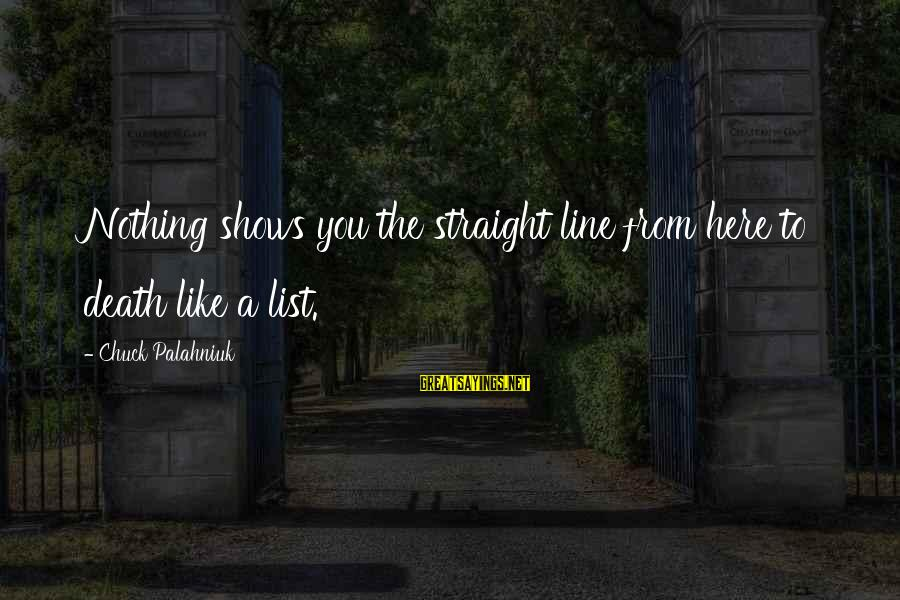 Dark Humor Sayings By Chuck Palahniuk: Nothing shows you the straight line from here to death like a list.