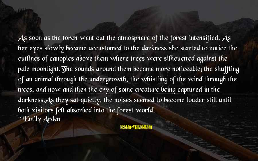 Darkness In Her Sayings By Emily Arden: As soon as the torch went out the atmosphere of the forest intensified. As her