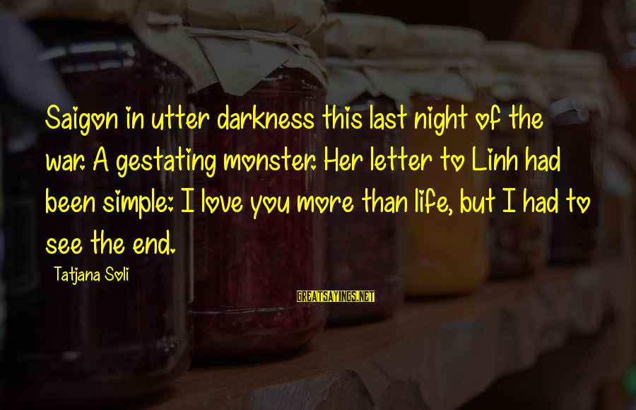 Darkness In Her Sayings By Tatjana Soli: Saigon in utter darkness this last night of the war. A gestating monster. Her letter