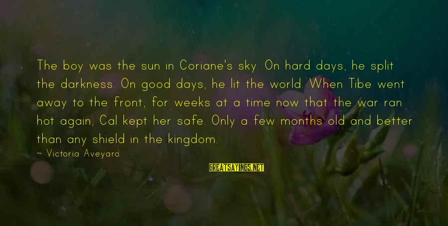 Darkness In Her Sayings By Victoria Aveyard: The boy was the sun in Coriane's sky. On hard days, he split the darkness.