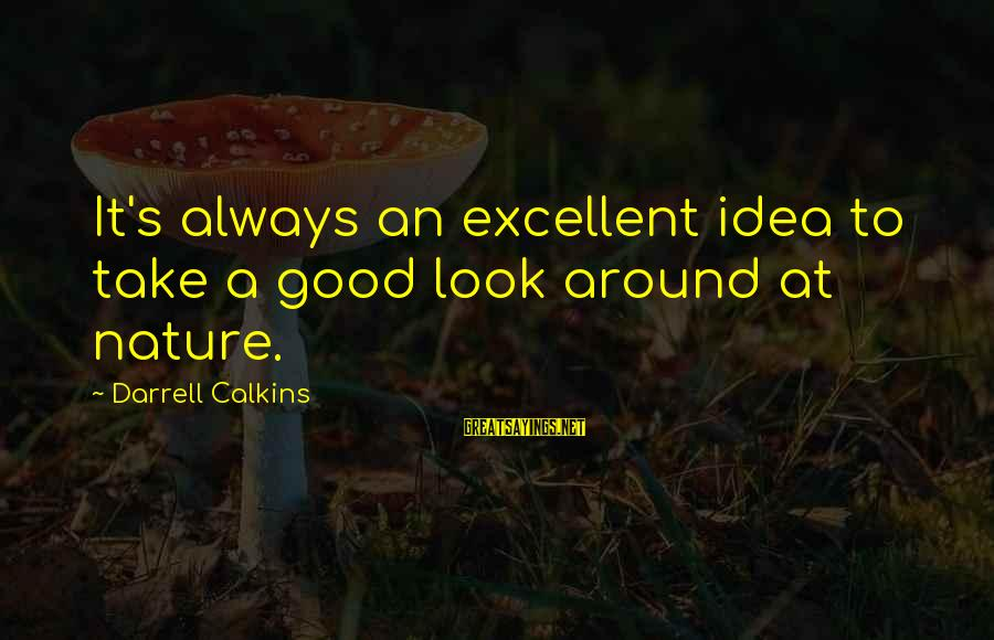 Darrell Sayings By Darrell Calkins: It's always an excellent idea to take a good look around at nature.