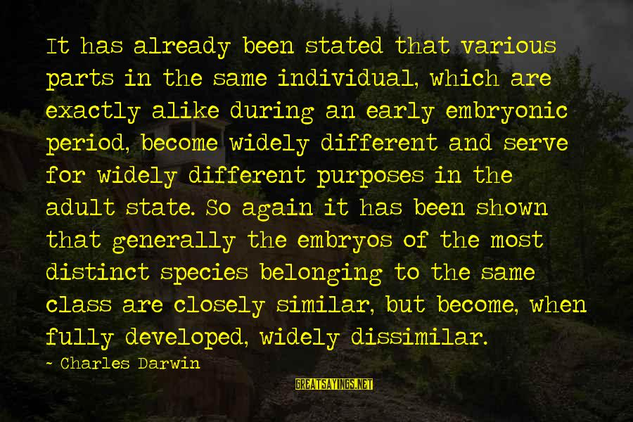 Darwin Species Sayings By Charles Darwin: It has already been stated that various parts in the same individual, which are exactly