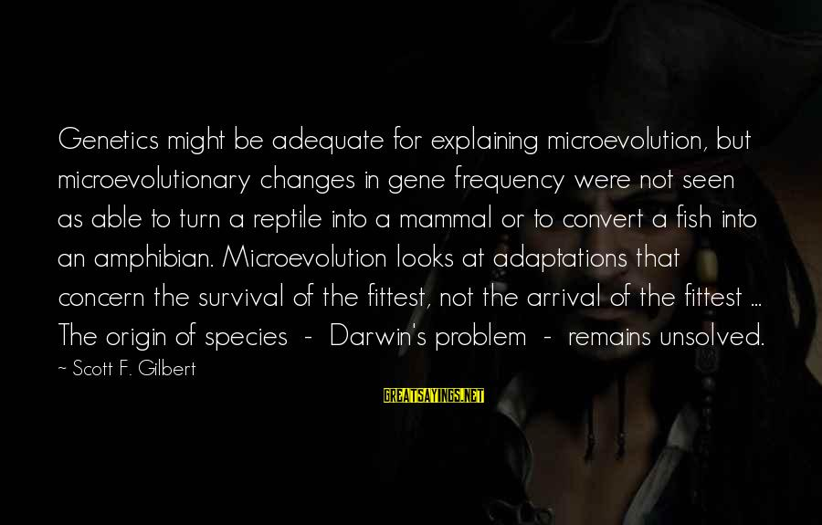 Darwin Species Sayings By Scott F. Gilbert: Genetics might be adequate for explaining microevolution, but microevolutionary changes in gene frequency were not
