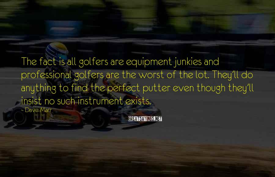 Dave Marr Sayings: The fact is all golfers are equipment junkies and professional golfers are the worst of