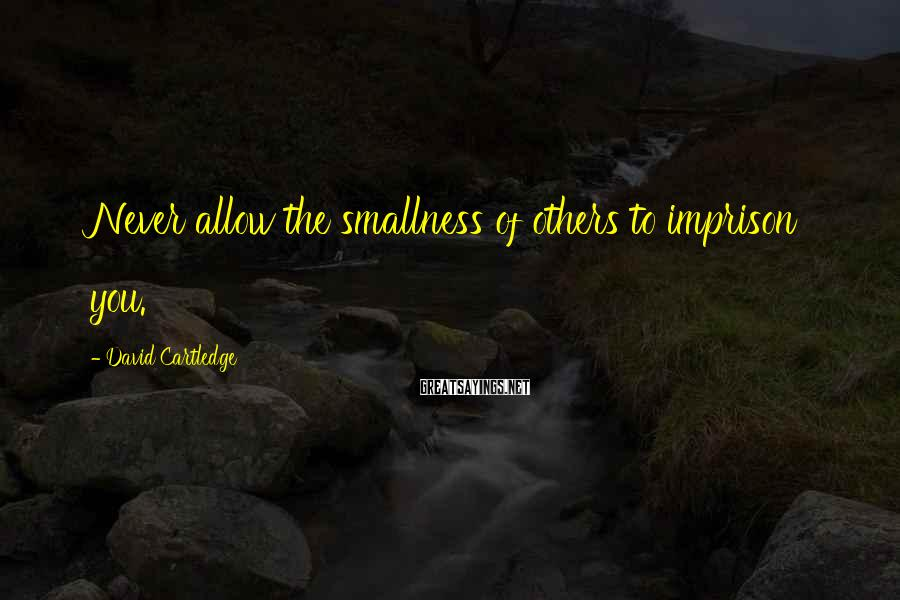 David Cartledge Sayings: Never allow the smallness of others to imprison you.