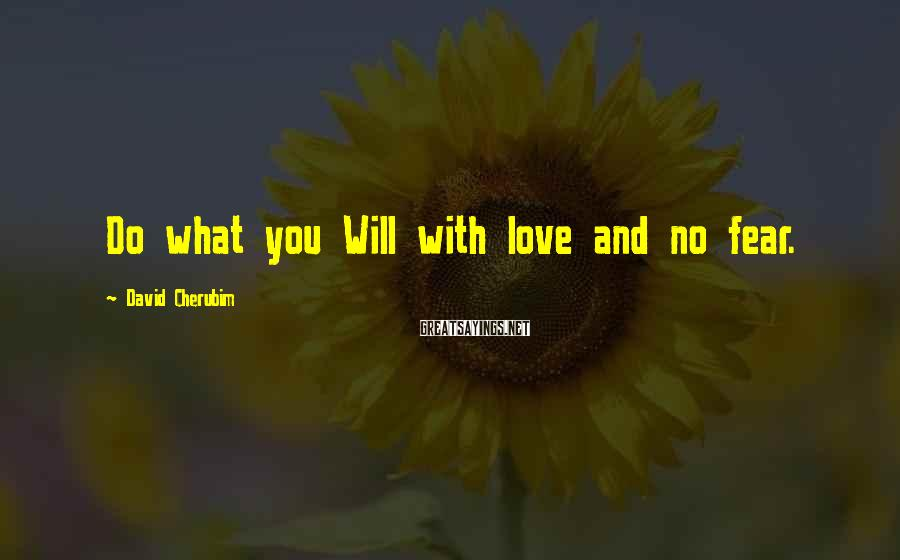 David Cherubim Sayings: Do what you Will with love and no fear.