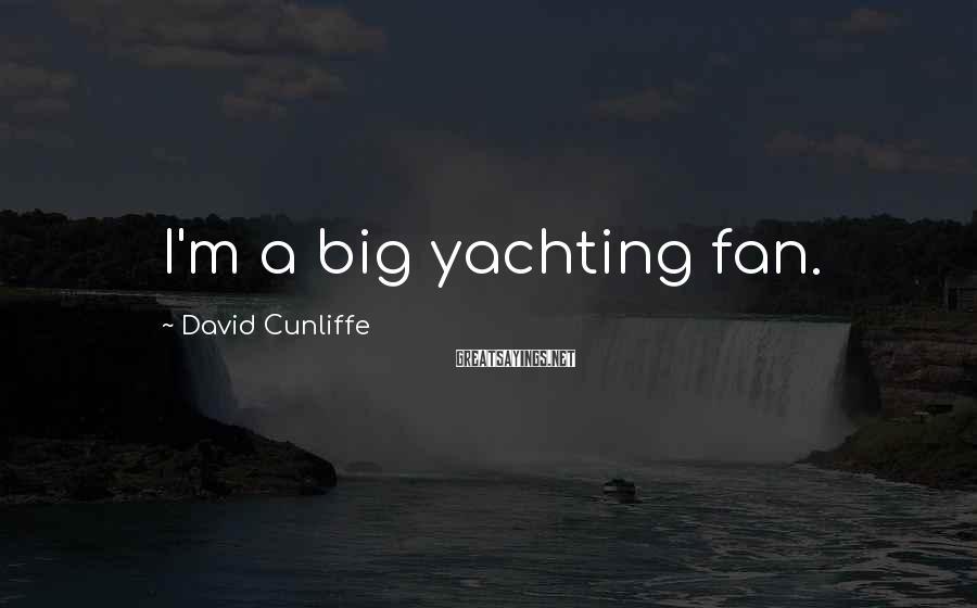 David Cunliffe Sayings: I'm a big yachting fan.