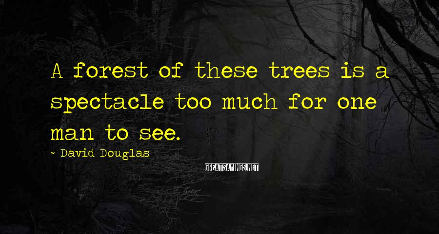 David Douglas Sayings: A forest of these trees is a spectacle too much for one man to see.