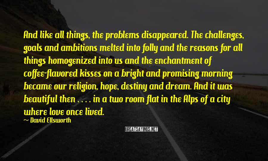 David Ellsworth Sayings: And like all things, the problems disappeared. The challenges, goals and ambitions melted into folly