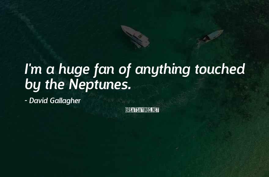 David Gallagher Sayings: I'm a huge fan of anything touched by the Neptunes.