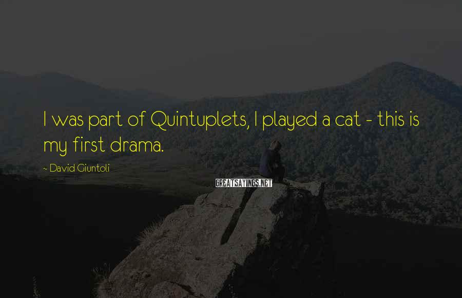 David Giuntoli Sayings: I was part of Quintuplets, I played a cat - this is my first drama.