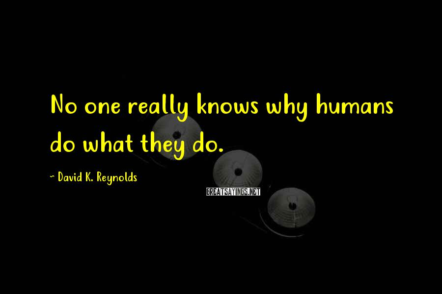 David K. Reynolds Sayings: No one really knows why humans do what they do.