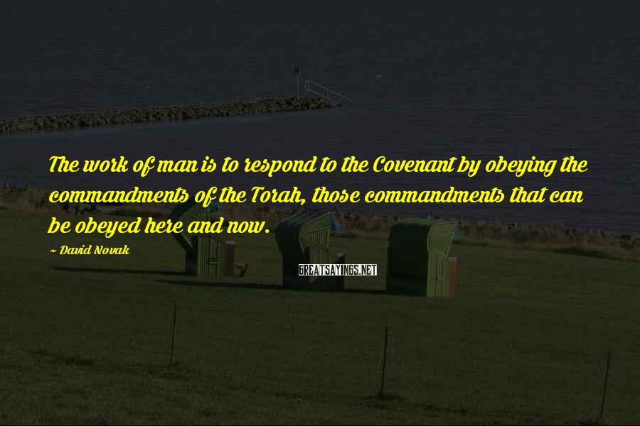 David Novak Sayings: The work of man is to respond to the Covenant by obeying the commandments of