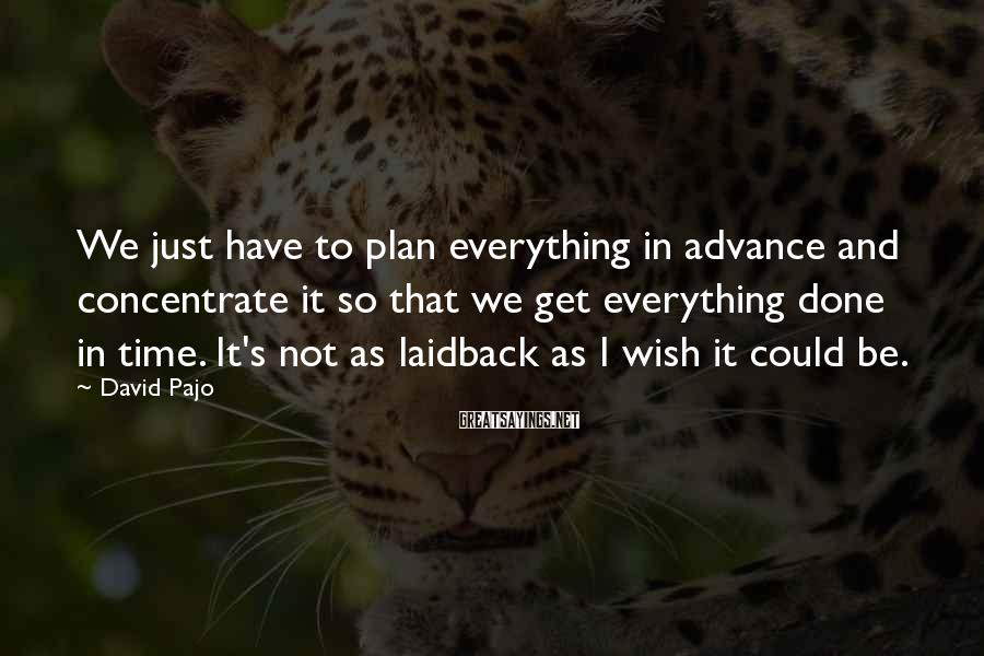 David Pajo Sayings: We just have to plan everything in advance and concentrate it so that we get