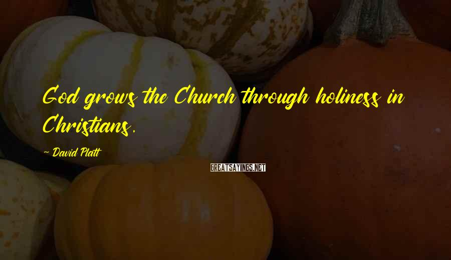 David Platt Sayings: God grows the Church through holiness in Christians.
