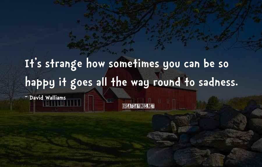 David Walliams Sayings: It's strange how sometimes you can be so happy it goes all the way round
