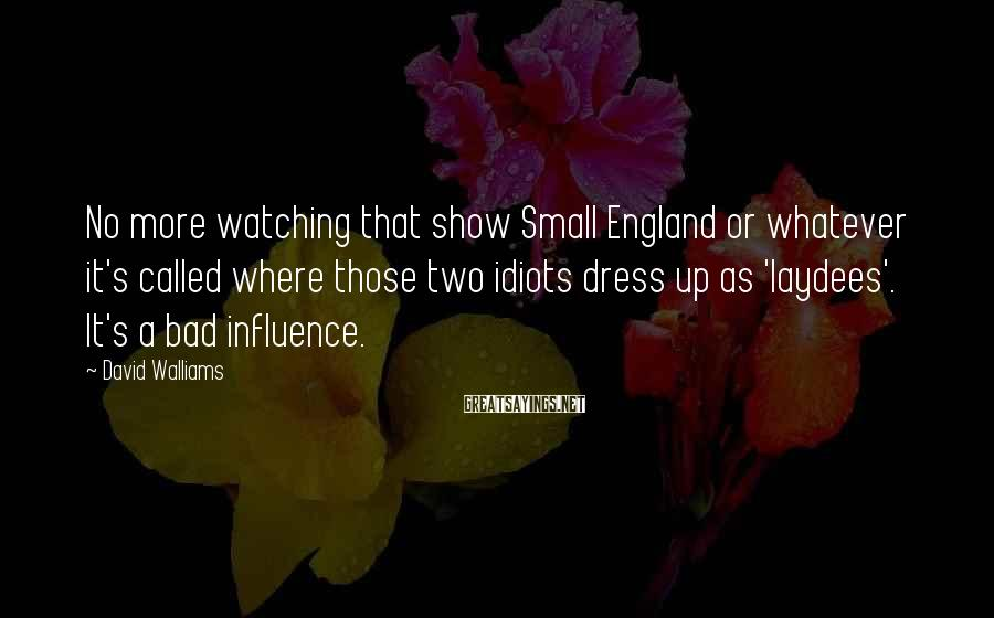 David Walliams Sayings: No more watching that show Small England or whatever it's called where those two idiots