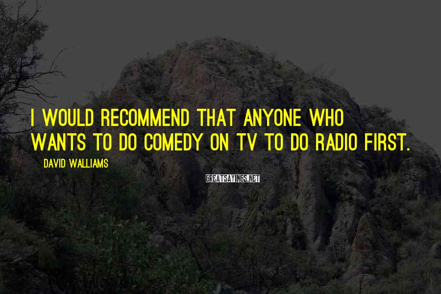 David Walliams Sayings: I would recommend that anyone who wants to do comedy on TV to do radio