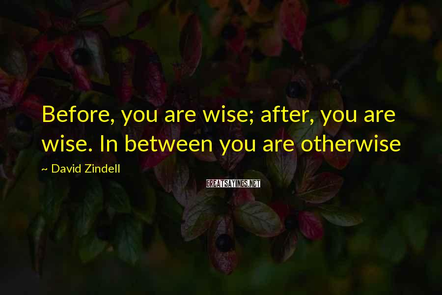 David Zindell Sayings: Before, you are wise; after, you are wise. In between you are otherwise