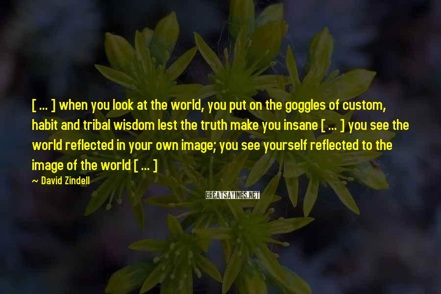 David Zindell Sayings: [ ... ] when you look at the world, you put on the goggles of