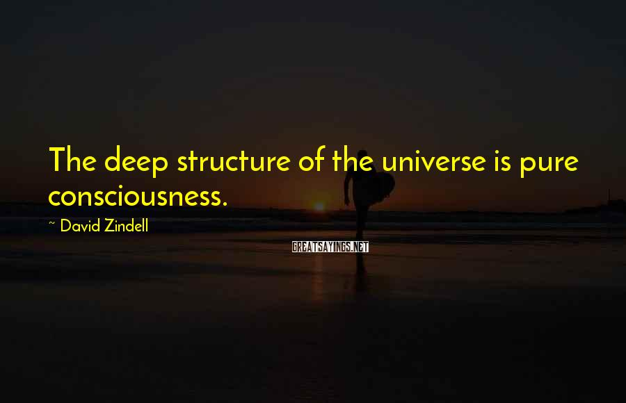 David Zindell Sayings: The deep structure of the universe is pure consciousness.
