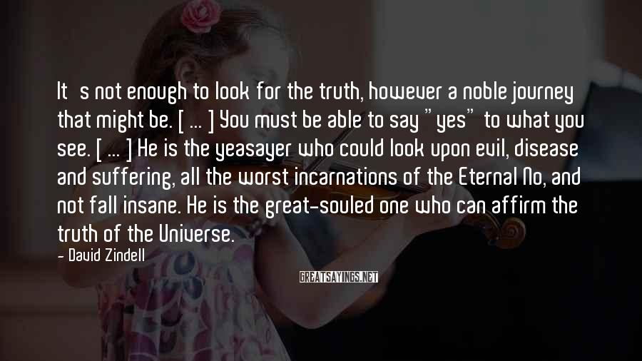 David Zindell Sayings: It's not enough to look for the truth, however a noble journey that might be.