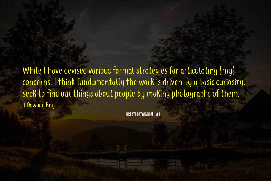 Dawoud Bey Sayings: While I have devised various formal strategies for articulating [my] concerns, I think fundamentally the