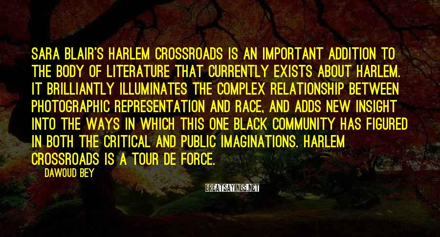 Dawoud Bey Sayings: Sara Blair's Harlem Crossroads is an important addition to the body of literature that currently
