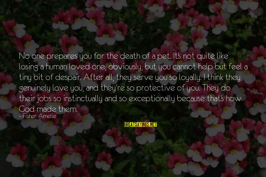 Death Of A Loved Pet Sayings By Fisher Amelie: No one prepares you for the death of a pet. It's not quite like losing
