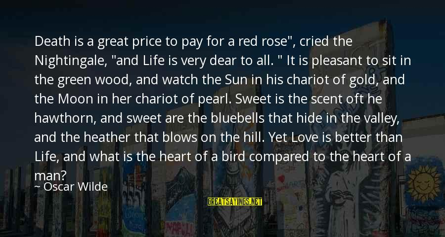 """Death Of Great Man Sayings By Oscar Wilde: Death is a great price to pay for a red rose"""", cried the Nightingale, """"and"""