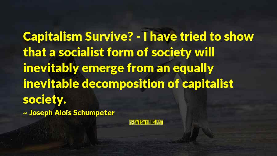 Decomposition Sayings By Joseph Alois Schumpeter: Capitalism Survive? - I have tried to show that a socialist form of society will