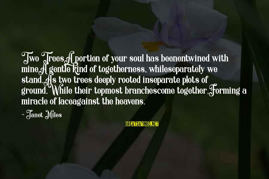 Deeply In Love Love Sayings By Janet Miles: Two TreesA portion of your soul has beenentwined with mineA gentle kind of togetherness, whileseparately