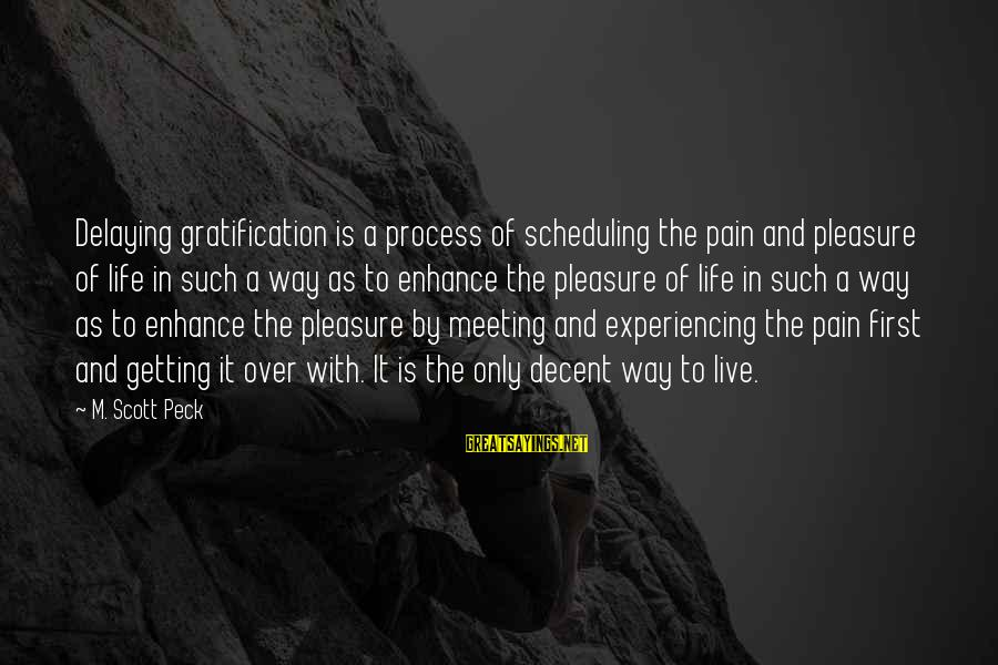 Delaying Sayings By M. Scott Peck: Delaying gratification is a process of scheduling the pain and pleasure of life in such
