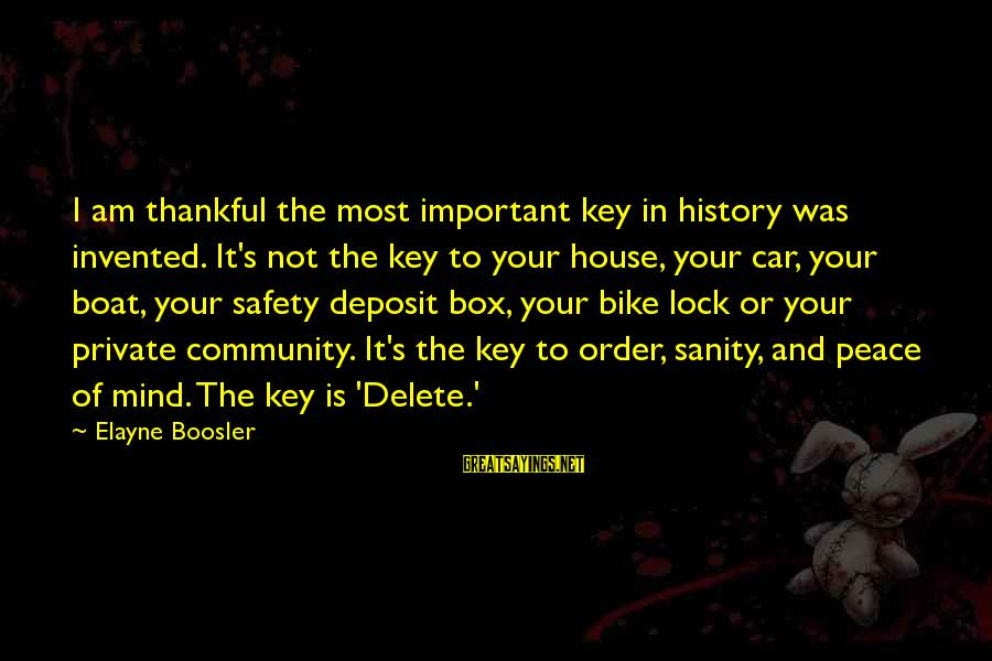 Delete Sayings By Elayne Boosler: I am thankful the most important key in history was invented. It's not the key