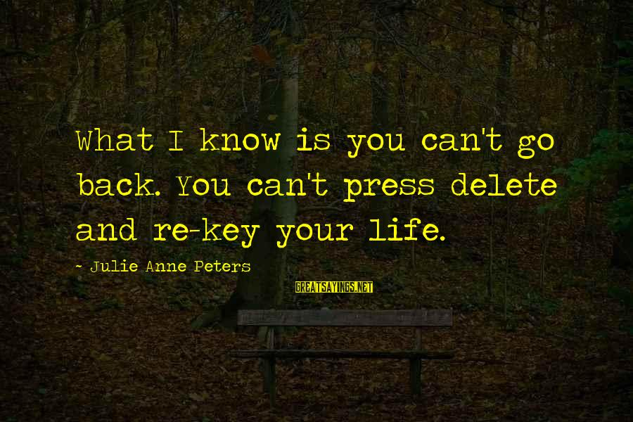 Delete Sayings By Julie Anne Peters: What I know is you can't go back. You can't press delete and re-key your