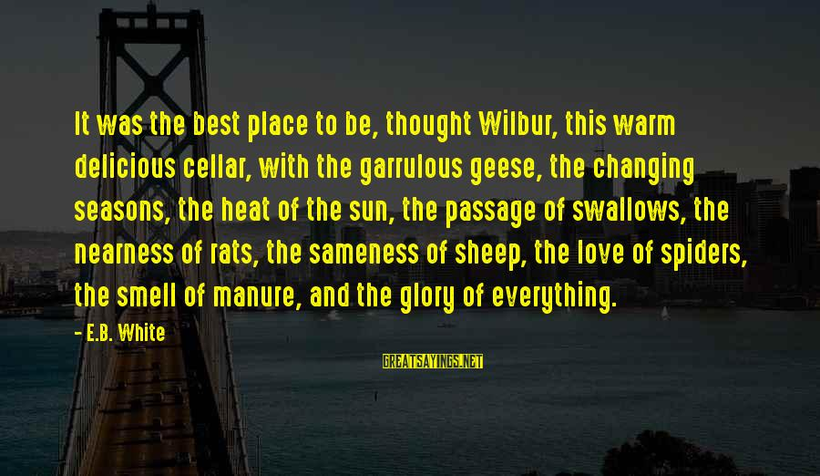 Delicious Love Sayings By E.B. White: It was the best place to be, thought Wilbur, this warm delicious cellar, with the