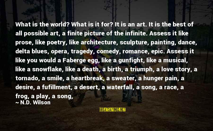 Delta Blues Sayings By N.D. Wilson: What is the world? What is it for? It is an art. It is the